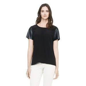Club Monaco Alessandra leather sleeve top